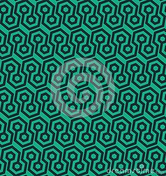 Seamless abstract retro pattern from geometric hexagonal shapes in green and blue colors. Suitable for web, print, wallpaper, gift wrapping, home decor, fashion, invitation background, textile design. Layered EPS8 vector file for easy manipulation and coloring.