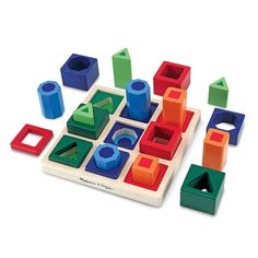 Melissa and Doug Kids Toy, Shape Sequence Sorting Set. Help them develop the building blocks of beginning math skills with this entertaining and educational shape sequence sorting set from Melissa and Doug. Wooden Toys For Toddlers, Toddler Toys, Baby Toys, Kids Toys, Montessori Toddler, Toddler Stuff, Montessori Toys, Toddler Preschool, Wooden Shapes