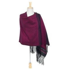 NOVICA Zapotec Handwoven Rebozo Shawl in Black and Fuchsia (345 GTQ) ❤ liked on Polyvore featuring accessories, scarves, clothing & accessories, pink, shawls, tie scarves, shawl scarves, crochet scarves, pink shawl and fringe scarves