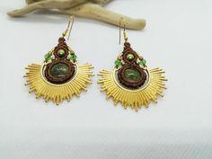 Gold Sun Earrings Unakite Macrame Earrings Hippie | Etsy Macrame Earrings, Turquoise Cuff, Unique Earrings, Bohemian Jewelry, Round Beads, Special Gifts, Seed Beads, Wax, Women Jewelry