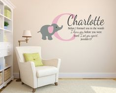 """Jeremiah 1:5 Bible Scripture Verse Monogram Child Name Personalized Vinyl Decal with Elephant  20""""hx 55""""w"""