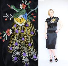 50 s/60 s  schöne bestickte Peacock  schwarz von starlingdarlin, $115.00