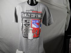 Stanley Cup Finals 2014 Pro Hockey Kings vs Rangers T-shirt Reebok Size Large Grey Short Sleeve - http://raise.bid/store/clothing/stanley-finals-rangers/