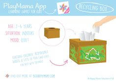 Get creative when teaching your children good habits like recycling and hopefully they'll stick all the better! Download PlayMama App for great learning games for babies: http://www.behappymum.com/playmama/ Baby Learning, Learning Games, Learning Through Play, Good Habits, Baby Games, Babies, Your Child, Recycling, Teaching