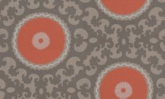 Suzani (314005) - Eijffinger Wallpapers - A large medallion motif design with intricate filgree,in a symmetrical pattern – giving a bold effect, perfect for a feature wall. Shown in rich orange and metallic gold with dark brown pattern. Paste the wall. Please request a sample for true colour ma