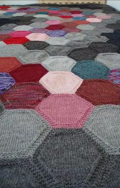 "Something like this afghan (called ""sixes"") is the only hope I have of ever using up all my sock yarn scraps. Knitting Stitches, Knitting Patterns, Crochet Patterns, Knitted Afghans, Knitted Blankets, Yarn Projects, Knitting Projects, Knitted Squares Pattern, Big Knit Blanket"