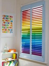 Childrens room with rainbow kids shutters on window -- A great idea for DIY-ers!