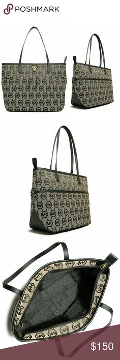 """New! MICHAEL KORS Logo Medium Tote Handbag NWT Handle anything with style when you have this iconic medium pocket tote from MICHAEL Michael Kors that features a signature print allover and two zip pockets on the front.    Medium pocket tote  MK signature jacquard pattern  Gold-tone hardware  MK lock logo  14.5 inch W x 9.5 inch H x 4.5 inch D  Two top handles; 10"""" drop  Zip top closure  Two zip front pockets  Interior features one zip pocket, three open pockets, one cell phone pocket, one…"""