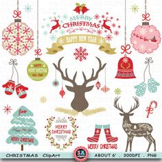 """Christmas Clipart """" CHRISTMAS CLIPART"""" pack  Christmas Deer,Rustic Christmas,Reindeer Clipart,Christmas Wreath,Christmas Ornaments Crs027 by SAClipArt on Etsy"""