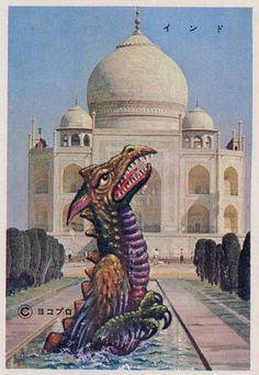 'Bromide cards showing various pachimon kaiju (imitation creatures based loosely on famous TV and movie monsters) at iconic locations around the world. Horror Monsters, Scary Monsters, Power Rangers, Sci Fi Japan, Japanese Monster Movies, Monster Photos, Monster Cards, Dinosaur Art, Prehistoric Animals