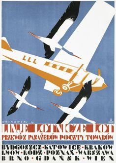 Polish Airlines Vintage Travel Posters, Poster Vintage, Polish Posters, Luggage Labels, Airline Travel, Art Deco Posters, Retro Ads, Art Deco Period, Art Graphique