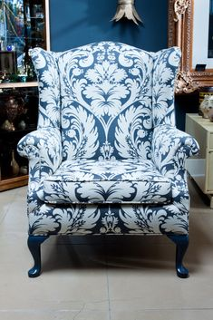 gray damask wingback chair