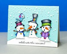 Snowman card by Jennifer McGuire.  Stacey Yacula Studio stamps from Purple Onion Designs.