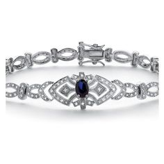 PalmBeach Jewelry 1.30 TCW Sapphire and Cubic Zirconia Vintage-Style Bracelet in Platinum over .925 Sterling Silver featuring polyvore, fashion, jewelry, bracelets, blue, bracelet bangle, statement bracelet, sapphire bracelet, sterling silver bangles and clasp bracelet