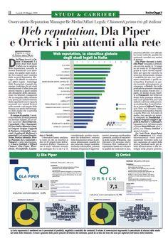 Nuova edizione dell'Osservatorio Reputation Manager-Be Media/Affari Legali condotto inesclusiva per Italia Oggi.