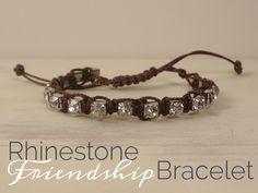 Bead It and Weep Rhinestone Friendship Bracelet via Bead It and Weep #knots #macrame