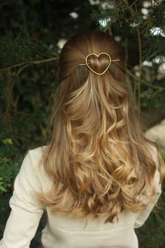 Heart hair slide brass hair clip rustic copper hair by Kapelika