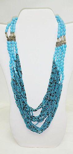 "HANDMADE Multi Strand Beaded TURQUOISE Blue and Black Seed Bead 23"" Necklace #Handmade #Beaded"