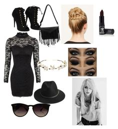 """dark outfits no.1"" by aubrey-corbett on Polyvore featuring beauty, Giuseppe Zanotti, Ray-Ban, BeckSöndergaard, Cult Gaia and Manic Panic"