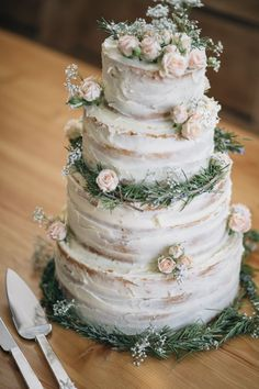 Naked Wedding Cake Ideas Sponge Bare Layer Victoria Berries Inspiration Flowers http://www.mattandesther.co.uk/