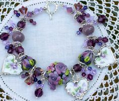 Broken China Bracelet China Heart Charms by Robinsnestcreation1, $110.00