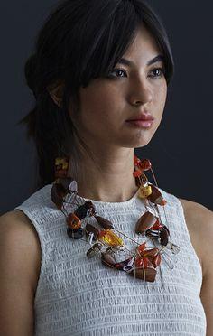 Serpentine Necklace -Amber, Tigereye, Carnelian & Serpentine Necklace With Sterling Silver Clasp.  Simon Alcantara – DARA Artisans