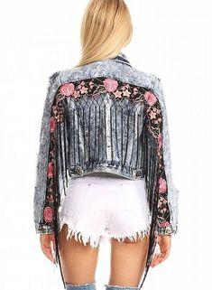 8b061a13765 Denim Fringe Crop Jacket $72.50 Cropped Denim Jacket, Denim Jackets, Diy  Dress, Boho