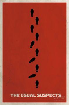《非常嫌疑犯》(1994)。海报用脚印表现最后情节大反转的震撼一幕,化身为跛子的凯文·史派西一瘸一拐的走出警局,走到外面后,立刻恢复了气度威严的黑帮大佬本色。