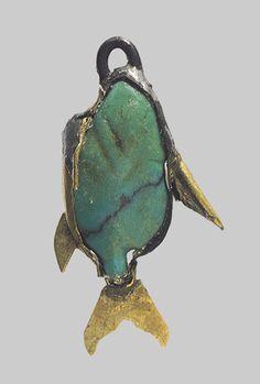 Fish, Dynasty 12–13 (ca. 1981–1640 B.C.)  Egyptian; Lisht North, Tomb L847  Gold, beryl