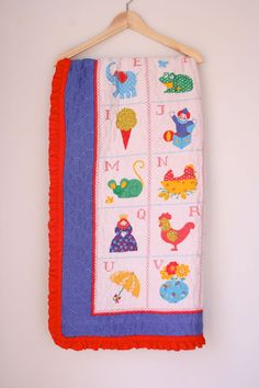 Vintage baby quilt alphabet cross stitch by fuzzymama on Etsy, $20.00