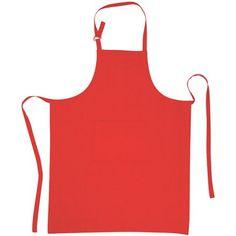 Tablier rouge, dim. 70x90 cm, 100 % coton. Poche dim. 20x25 cm.