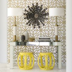 Beautiful gold and white wall covering with mirror and yellow accents. Things like this pattern might seem overwhelming alone, but when everything is added to it, it had a lux feel.