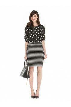 Blouse à pois et jupe rayée / Polka dot blouse and striped skirt