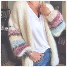 Cheap Cardigans, Plus Size Cardigans, Cardigans For Women, Mohair Sweater, Sweater Coats, Crochet Cardigan, Mode Outfits, Striped Knit, Christmas Clothes