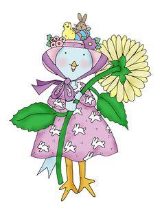 Free Dearie Dolls Digi Stamps: Easter Bonnet Birdie