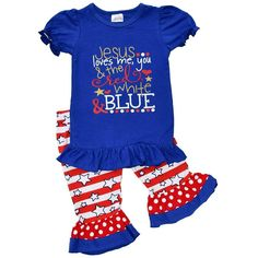 ea7db56e4246 4th Of July Outfit Boutique Style Patriotic Baby Girls Red White Blue  Toddler 4T  UniqueBaby