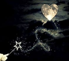 Star wand hung this heart shaped moon in the sky - it's magic. Sun Moon Stars, Sun And Stars, Adorable Petite Fille, Khadra, Moon Dance, Moon Magic, Moon Lovers, Beautiful Moon, To Infinity And Beyond