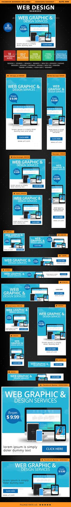 Web Design Banners — Photoshop PSD #flat design #coupon • Available here → https://graphicriver.net/item/web-design-banners/14621802?ref=pxcr