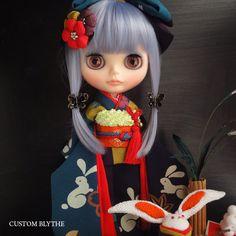 Kyohiro カスタム☆正絹縮緬伝統色はぎの振袖☆お月見兎♪_画像2