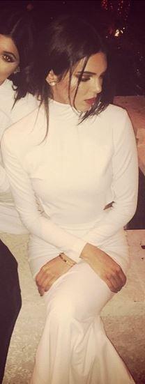 Kendall Jenner. turtleneck cut out maxi dress