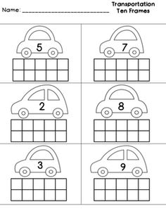 Blank Ten Frames First Grade - Handprint Kindergarten Grade R Worksheets, Kindergarten Math Worksheets, Preschool Learning Activities, Free Preschool, Ten Frames, Transportation Worksheet, Ten Frame Activities, Numbers Preschool, Math For Kids