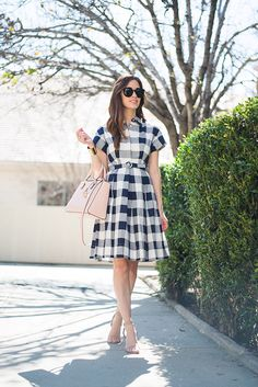 spring outfit inspiration with blue gingham dress M Loves M