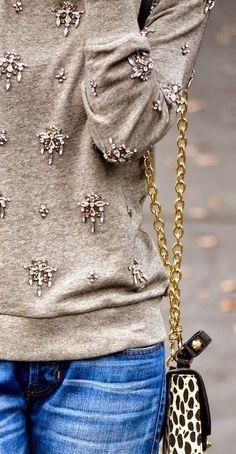 rhinestone embellished sweater