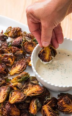 Fried Brussels Sprouts with Lemon Chive Dipping Sauce: For easier (and less mess. , Fried Brussels Sprouts with Lemon Chive Dipping Sauce: For easier (and less messy) Fried Brussels Sprouts at home, we submerge the sprouts in cold oil. Vegetable Recipes, Vegetarian Recipes, Cooking Recipes, Healthy Recipes, Vegetable Appetizers, Crispy Vegetable Recipe, Vegtable Snacks, Cooks Country Recipes, Keto Recipes