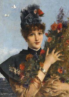 Alfred Stevens - Woman with Flowers Renaissance Paintings, Christmas Art, Steven, Alfred Stevens, Painting, Female Art, Art, Fairytale Art, Academic Art
