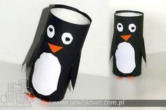 Toilet paper roll penguin craft - Pingwin z rolki po papierze toaletowym ~ URWISKOWO