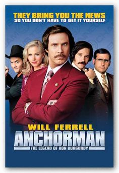Christina Applegate, Will Ferrell, Steve Carell, David Koechner, and Paul Rudd in Anchorman: The Legend of Ron Burgundy