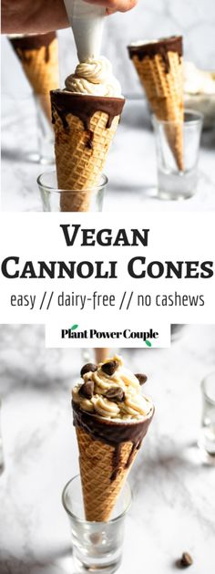Vegan Cannoli Cones - 8 ingredients, great for parties! - These Vegan Cannoli Cones, infused with decadent white chocolate flavor, are a fun and delicious da - Dairy Free Chocolate, Chocolate Flavors, Vegan Chocolate, White Chocolate, Cannoli, Star Cakes, Vegan Dessert Recipes, Vegetarian Desserts, Healthy Recipes