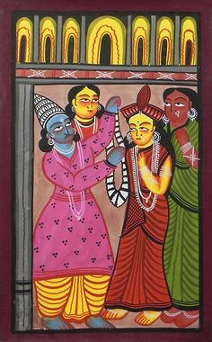 Marriage of Rama and Sita - Bengal Folk Art or Kalighat Painting $46.00 only