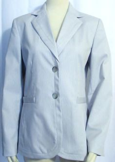 Womens Ladies FOCUS 2000 White & Blue Pinstripe Stretch Dress Jacket Blazer S #Focus2000 #Blazer